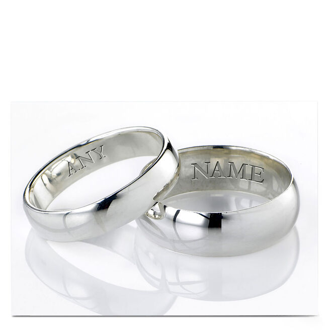 Personalised Wedding Card - Silver Rings