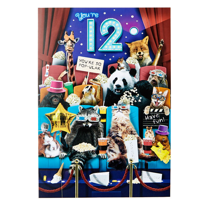 12th Birthday Card - Wild Animals, Cinema