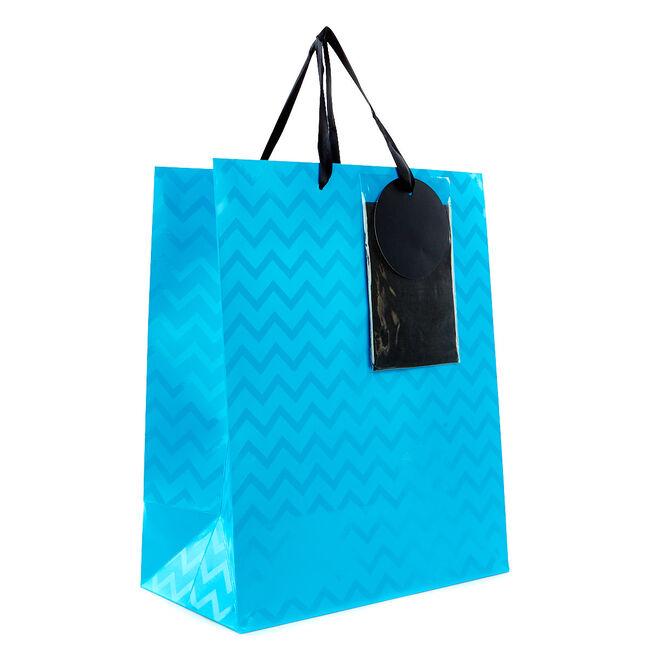 Medium Neon Blue Gift Bag With Tissue