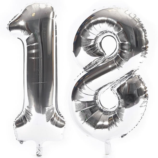 Age 18 Giant Foil Helium Numeral balloons - Silver (deflated)