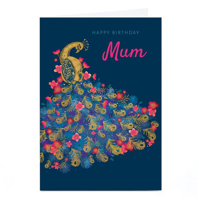 Personalised Kerry Spurling Birthday Card - Peacock