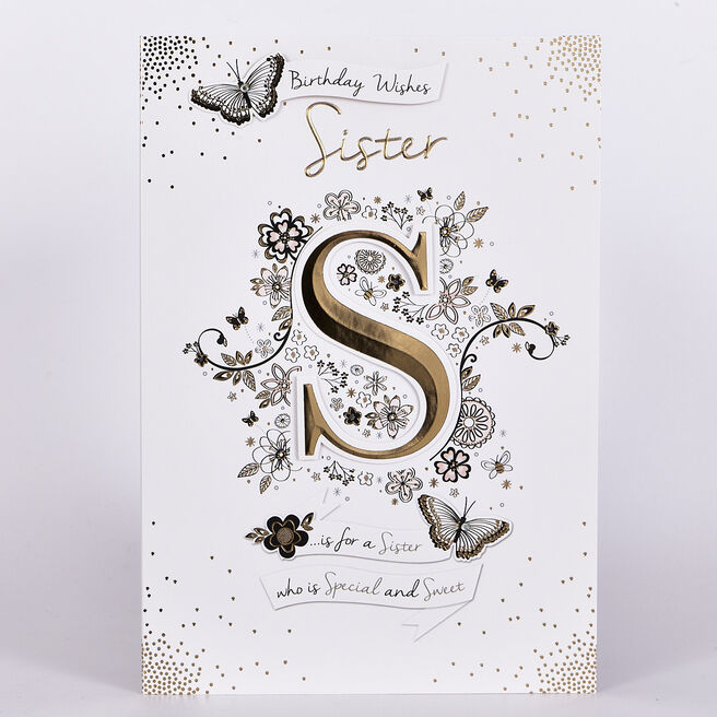 Birthday Card - S Is For Sister