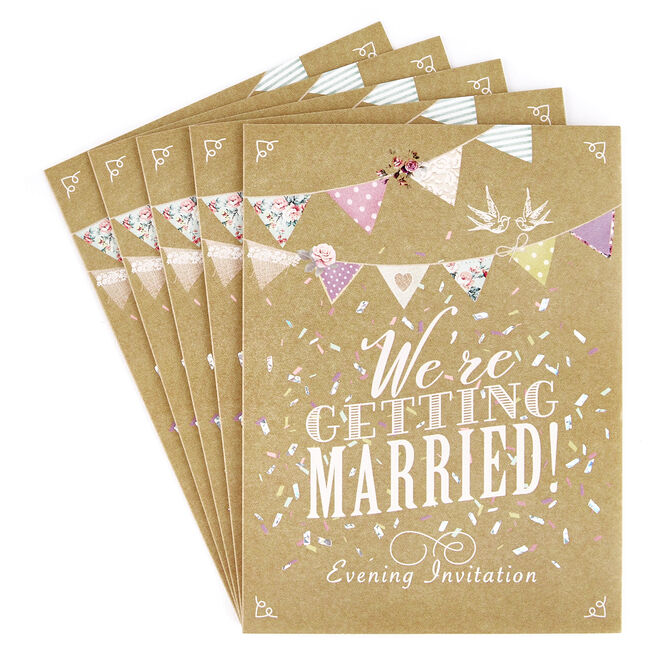 Evening Wedding Invitations, Bunting - Pack of 12