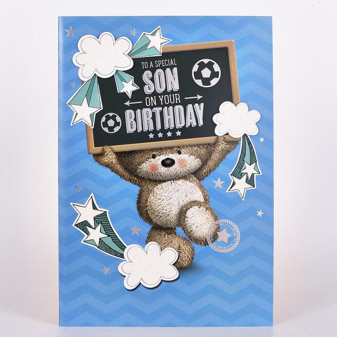 Hugs Birthday Card - Son Bear Sign