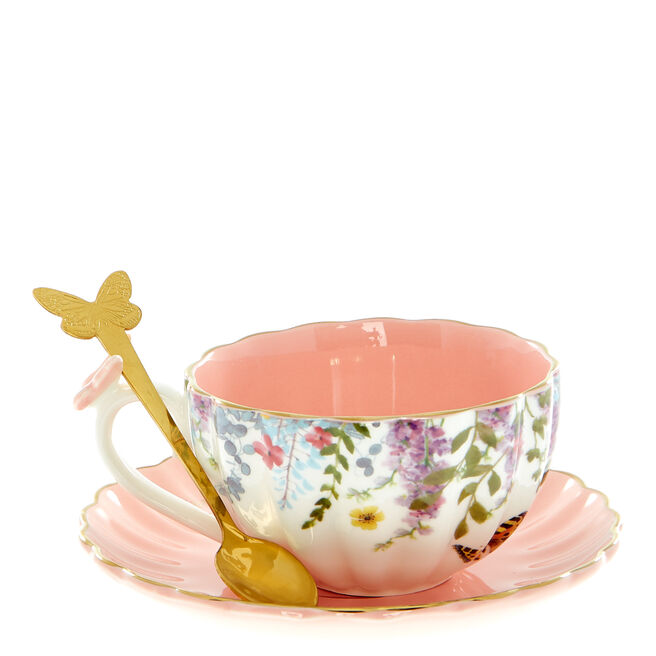 Lovely Floral Teacup, Saucer & Spoon Set
