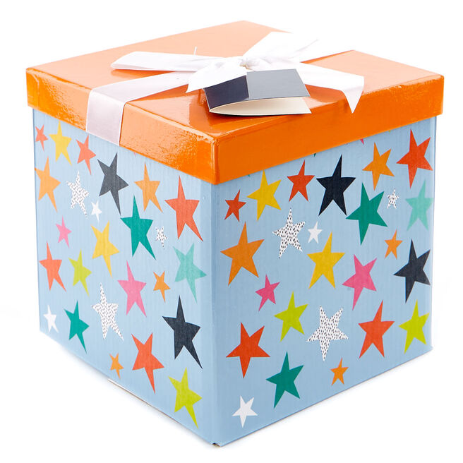 Medium Flat-Pack Gift Box - Orange & Blue Stars