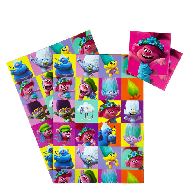 Trolls World Tour Wrapping Paper & Gift Tags - Pack Of 2