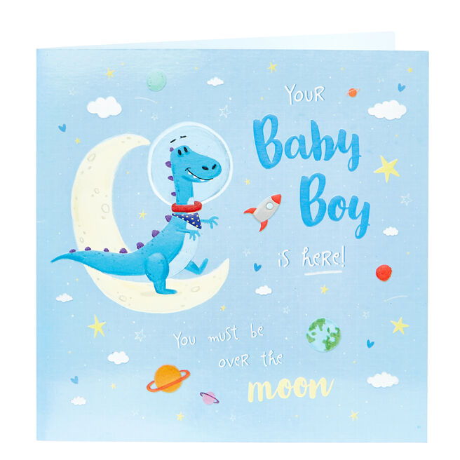 Platinum Collection New Baby Card - Baby Boy, Dinosaur