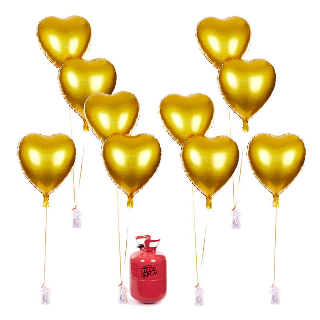 Party Balloon Bundle - 10 Gold Hearts & Helium