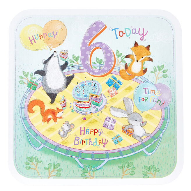 Platinum Collection 6th Birthday Card - Woodland Animal Party