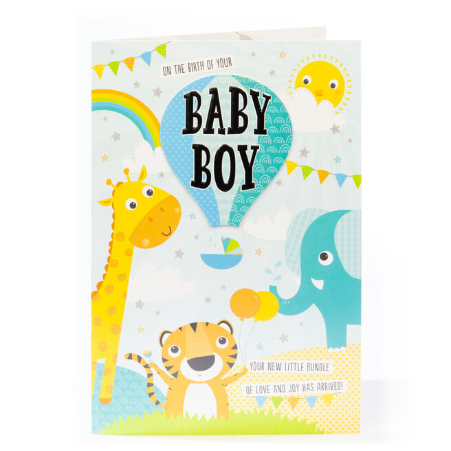 Giant New Baby Card - Baby Boy