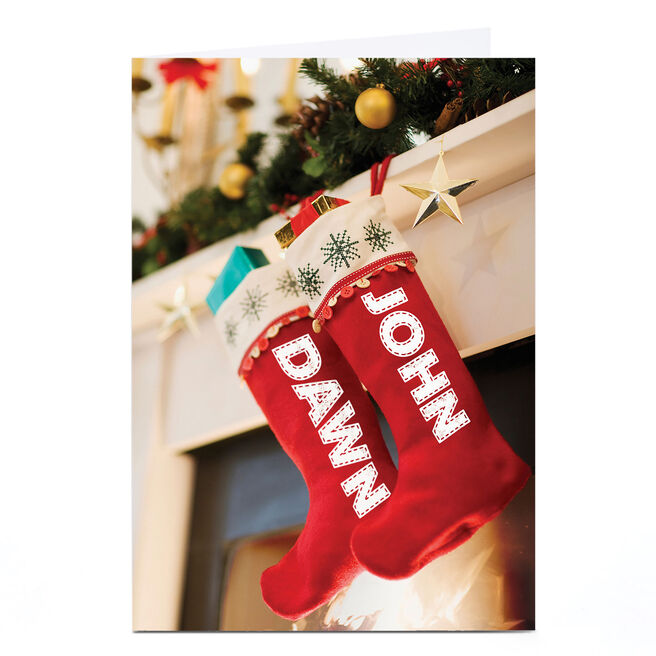 Personalised Christmas Card - Hanging Stockings