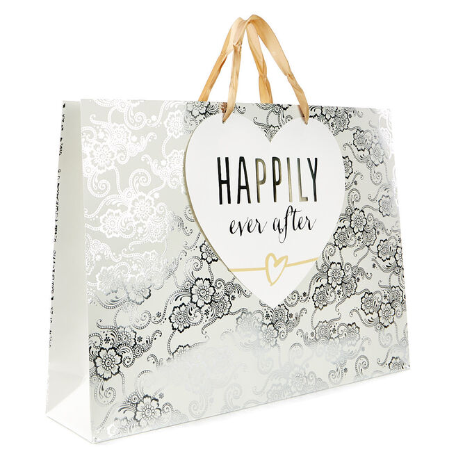 Large Silver & Ivory Gift Bag - Happily Ever After