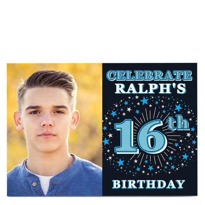 Photo 16th Birthday Invitation - Blue Stars