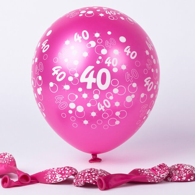 Metallic Pink Circles 40th Birthday Helium Latex Balloons - Pack Of 6