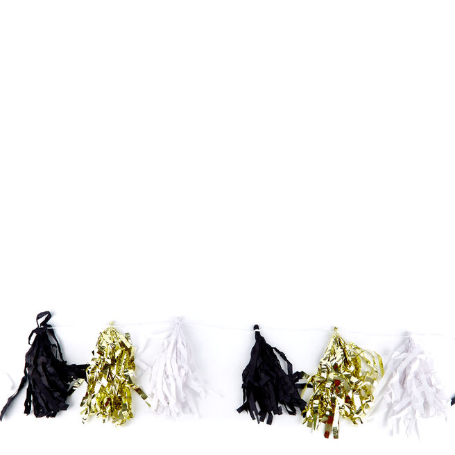 Gold, Black & White 9ft Tassel Garland