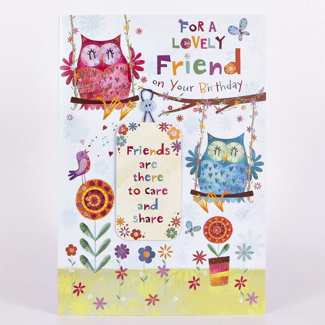 Signature Collection Birthday Card - Lovely Friend, Owls