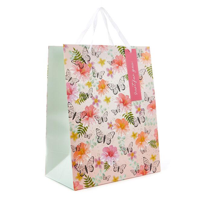 Medium Portrait Gift Bag - Butterflies & Flowers