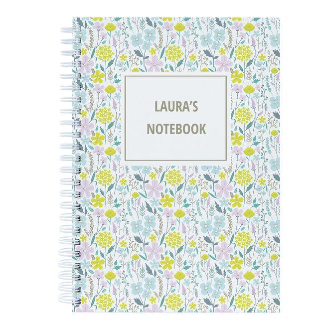 Personalised Notebook - Flowers Pattern