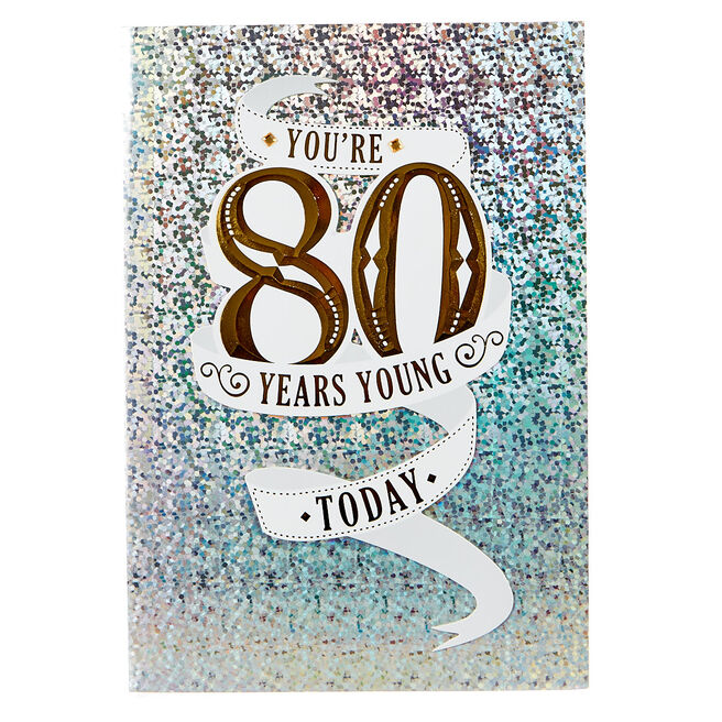 80th Birthday Card - Gold & Silver Foil