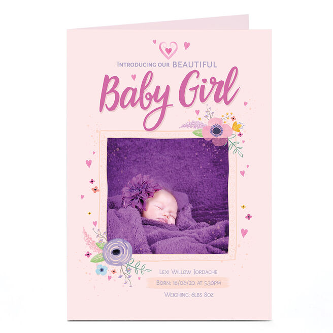 Photo New Baby Announcement Card - Beautiful Girl