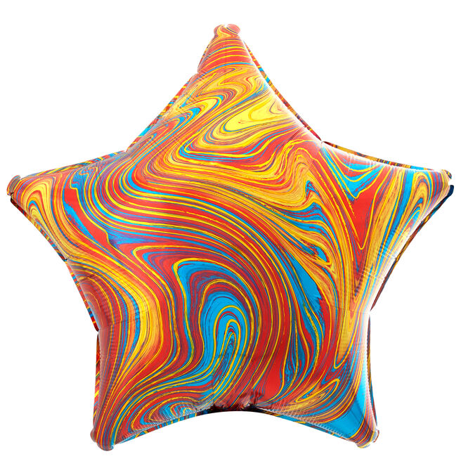 Colourful Star Marble-Effect 19-Inch Foil Helium Balloon