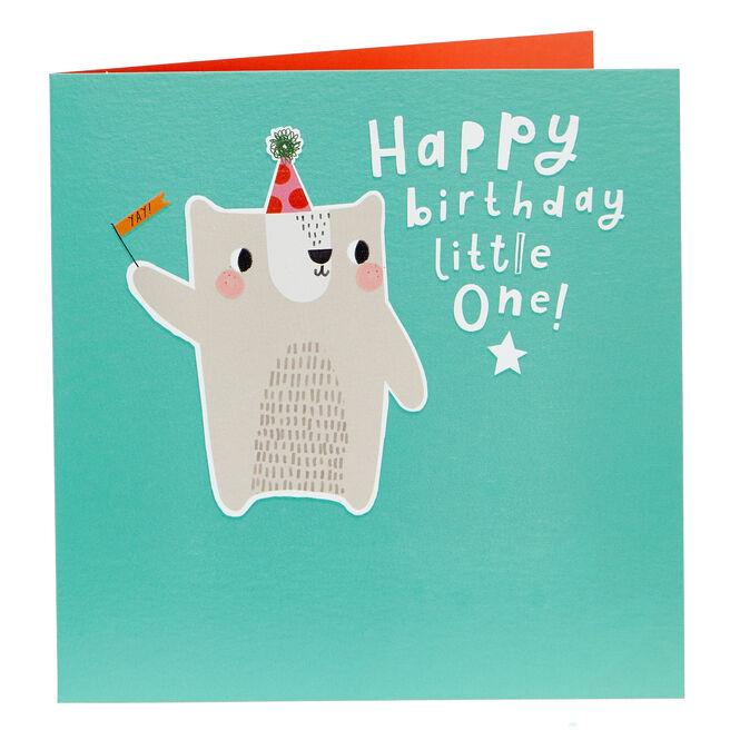 Birthday Card - Little One Party Bear