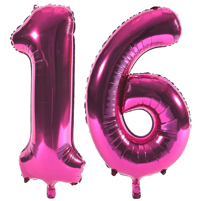 Age 16 Giant Foil Helium Numeral Balloons - Pink (deflated)
