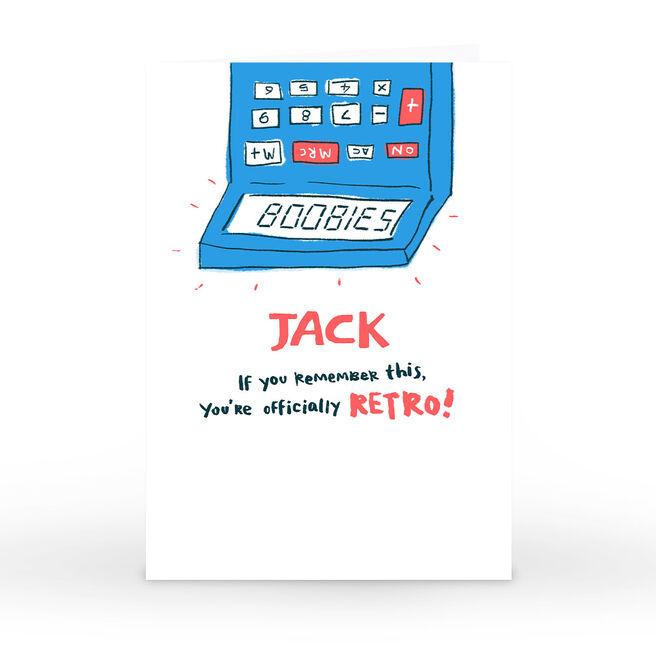 Personalised Hew Ma Card - Retro Calculator