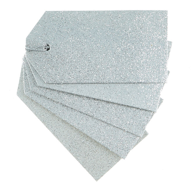 Silver Glitter Gift Tags - Pack Of 10