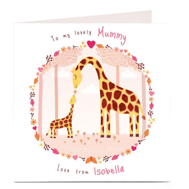 Personalised Mother's Day Card - Giraffe Mummy And Baby