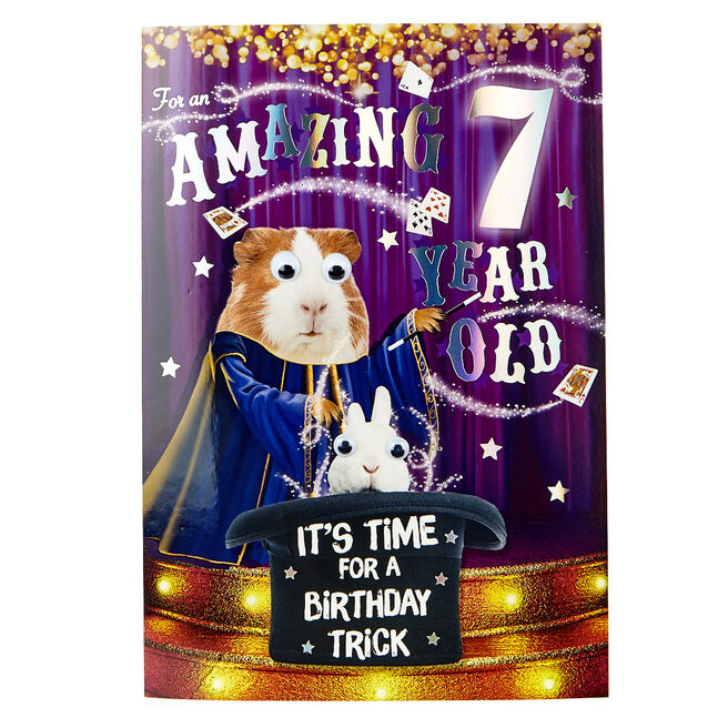 7th Birthday Card - It's Time For A Birthday Trick