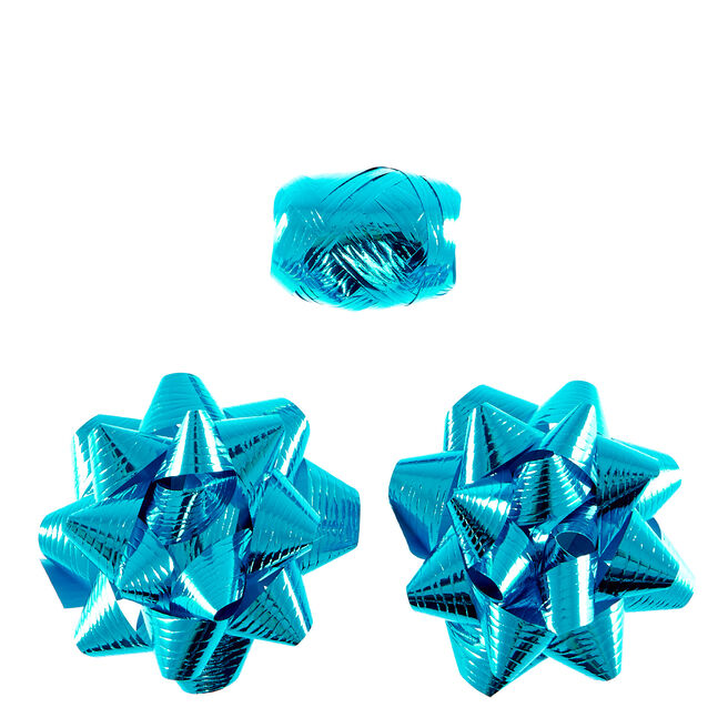2 Blue Foil Bows & Curling Ribbon