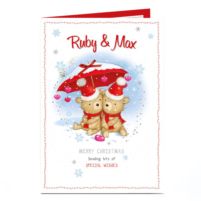 Personalised Christmas Card - Bears Under A Snowy Umbrella