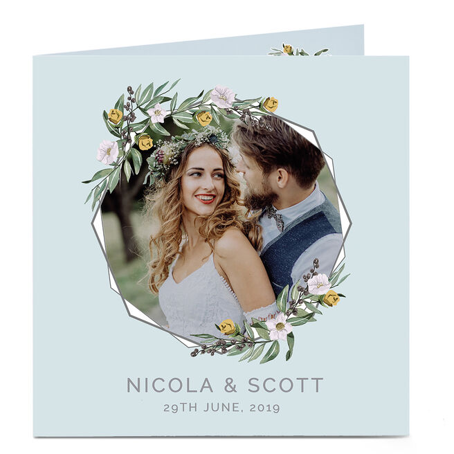 Personalised Wedding Photo Card - Hexagon Florals