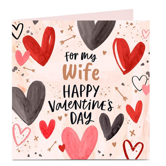 Personalised Valentine's Day Card - For My Wife, Hearts