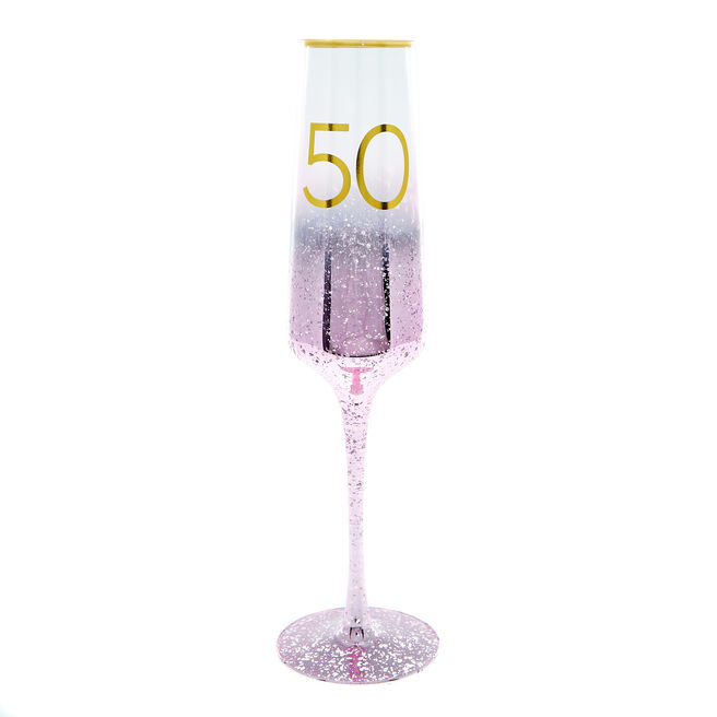 50th Birthday Champagne Flute - Happy Birthday To You