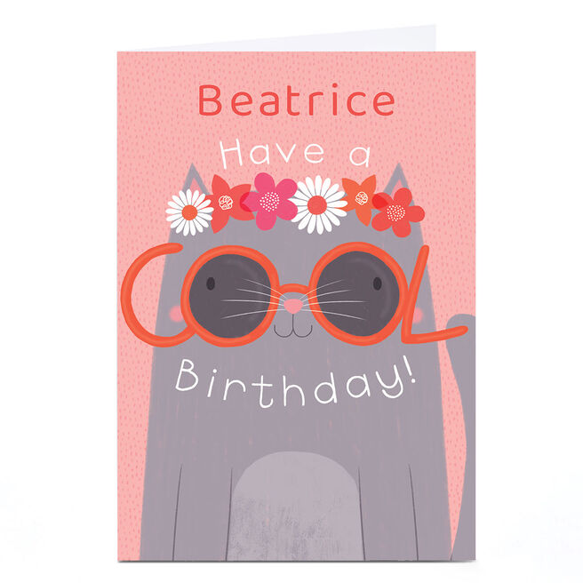 Personalised Hannah Steele Birthday Card - Cool Cat