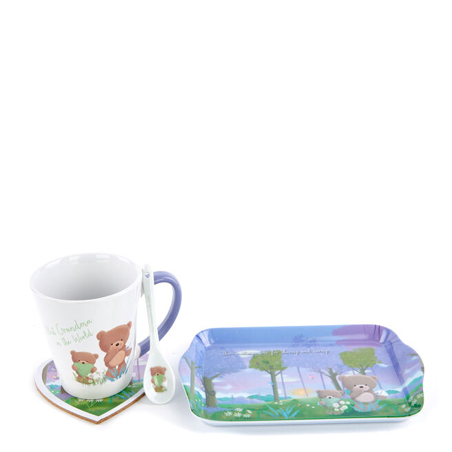 Best Grandma Mother's Day Hugs Tray, Mug, Coaster & Spoon Set