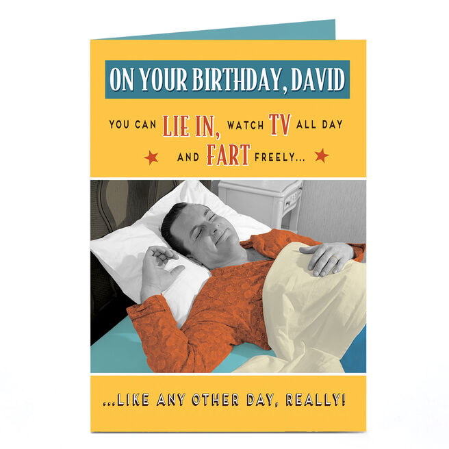 Personalised Birthday Card - Lie In, Watch TV & Fart