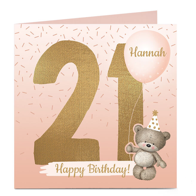 Personalised 21st Birthday Card - Hugs Bear, Any Name