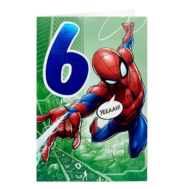 Spider-Man 6th Birthday Card