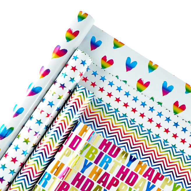 Rainbow Themed Wrapping Paper - 4 Rolls