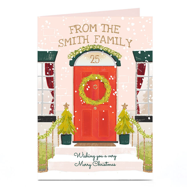 Personalised Christmas Card - From The Family, Red Door