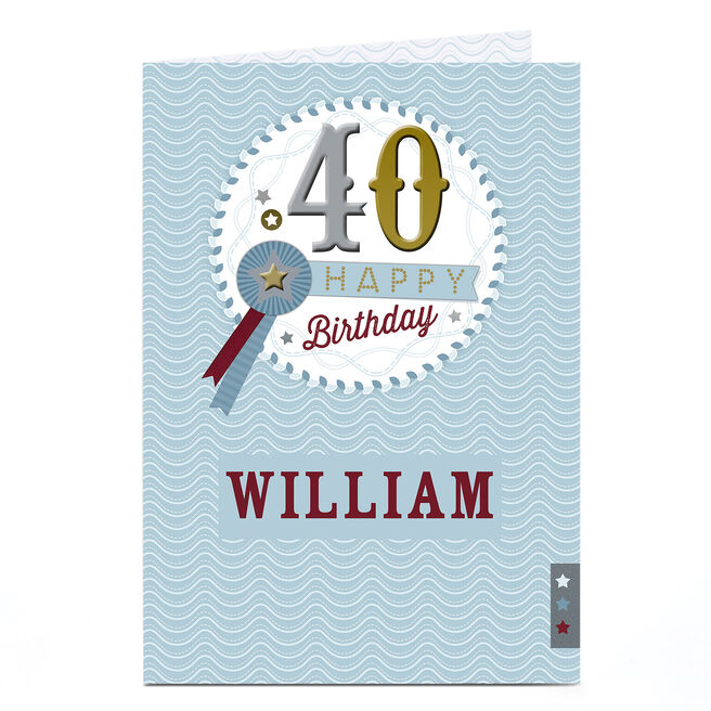 Personalised 40th Birthday Card - Rosette
