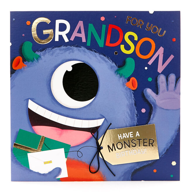 Exquisite Collection Birthday Card - Grandson Monster Pop-Up
