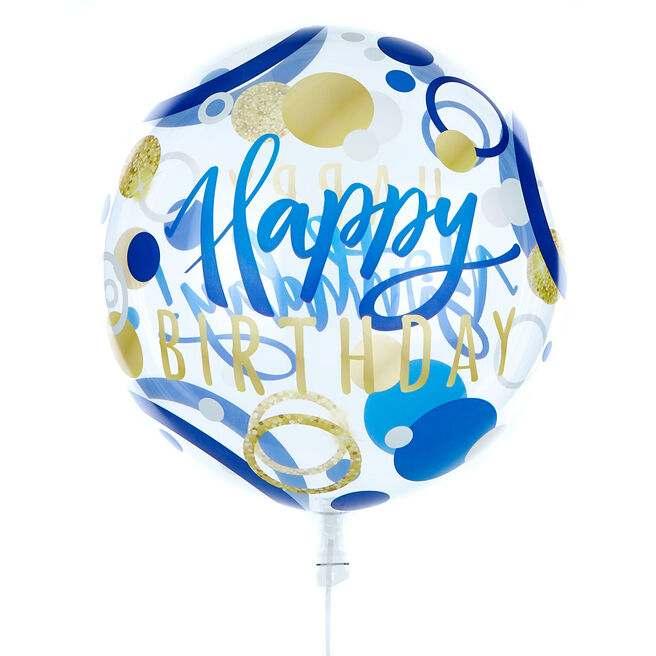 22-Inch Bubble Balloon - Happy Birthday, Blue & Gold Spots - DELIVERED INFLATED!