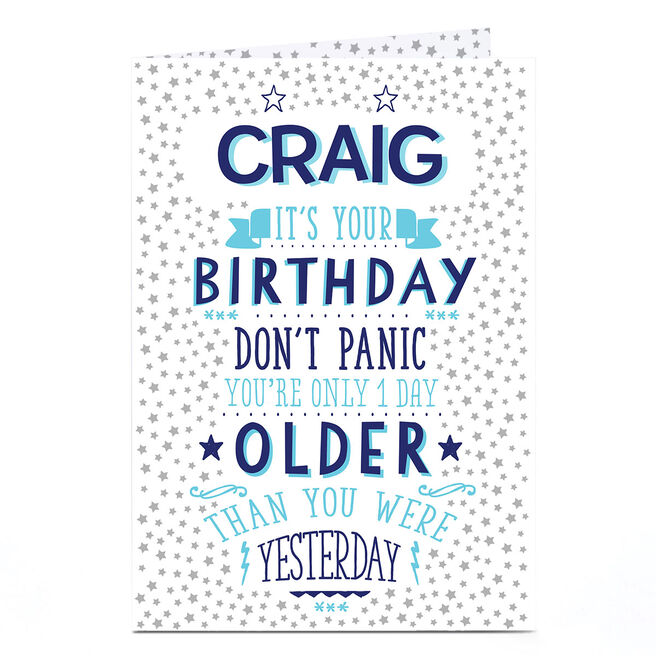 Personalised Birthday Card - 1 Day Older