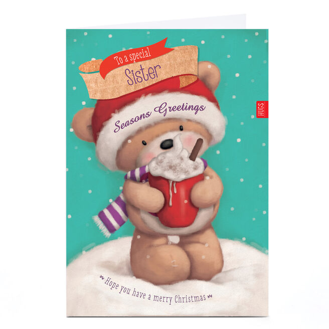 Hugs Personalised Christmas Card - Special Hot Chocolate Sister