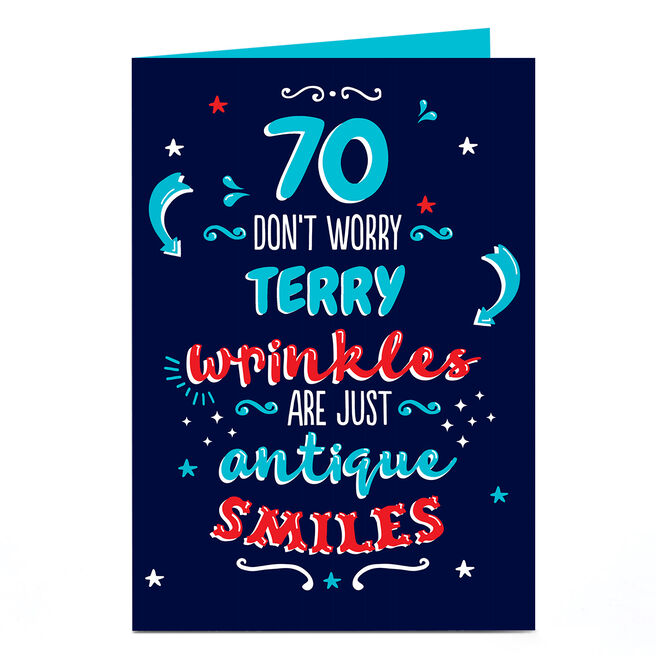 Personalised 70th Birthday Card - Antique Smiles